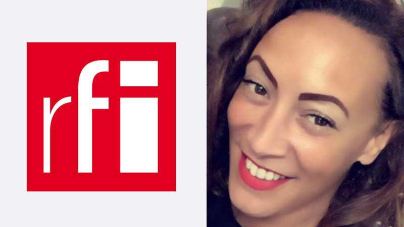 Logo RFI et portrait de Juliette Fiévet