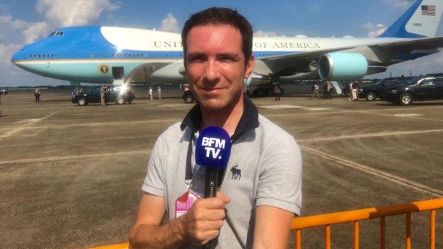 Cédric Faîche devant Air Force One après l'ouragan Harvey en 2017 - telesphere.fr